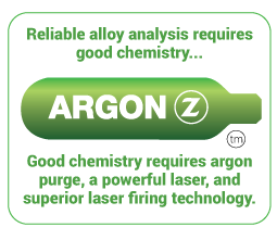 reliable alloy analysis requires good chemistry. Good chemistry requires argon purge, a powerful laser, and superior laser firing technology. SciAps Z argon graphic