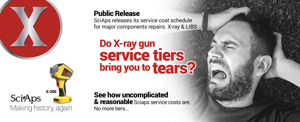 Public Release SciAps releases its service cost schedule for major components repairs. X-ray & LIBS. Do X-ray gun service tiers bring you to tears? See how uncomplicated & reasonable Sciaps service costs are. No more tiers...