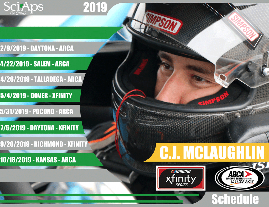 2019 Schedule SciAps CJ Mclaughlin Racing Team