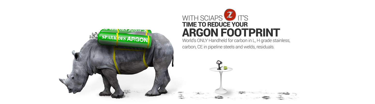Time to reduce your argon footprint with Sciaps Z Worlds only handheld for carbon in L, H grade stainless, carbon, CE in pipeline steels and welds, residuals.