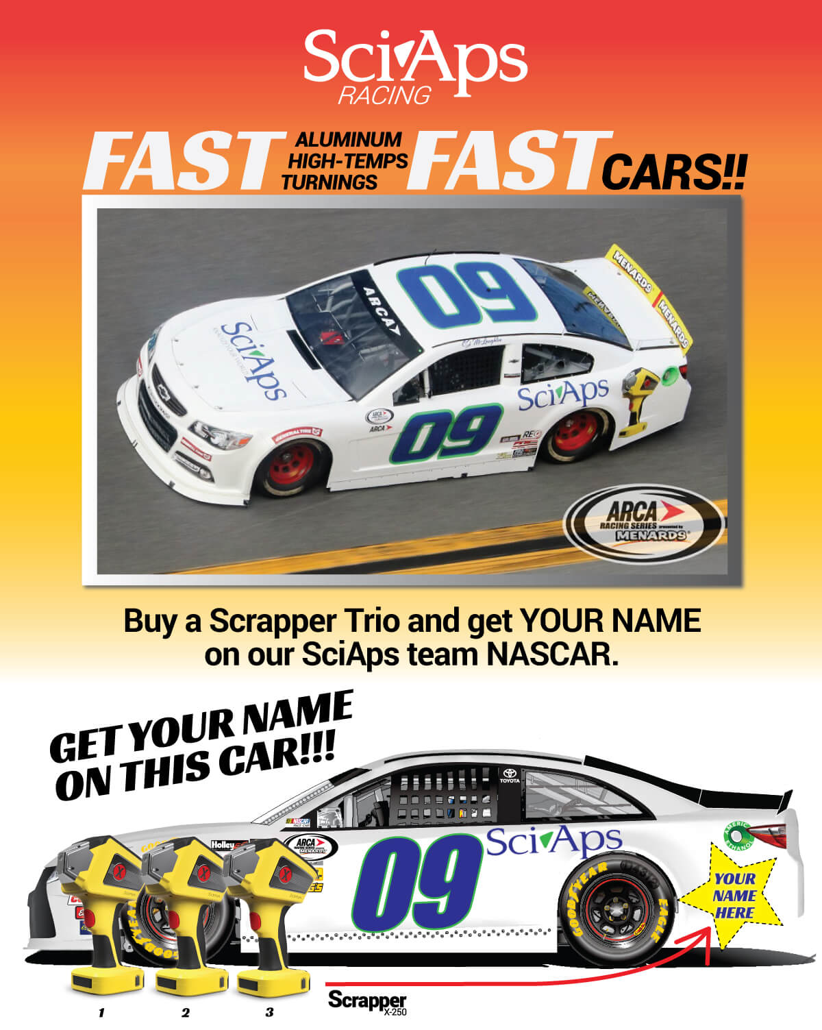 Buy a Scrapper Trio and get your name on our SciAps team NASCAR.