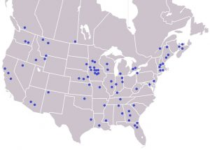 Approximate soil sample source locations across the U.S. and Canada