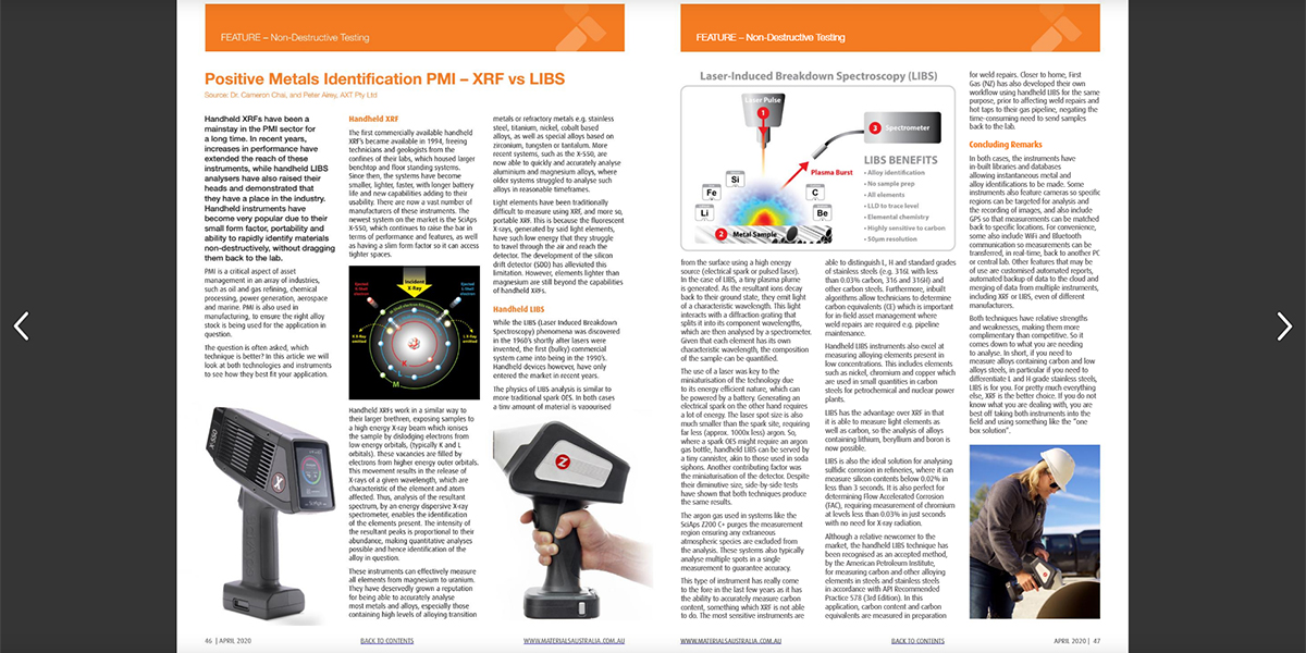 PMI with XRF and LIBS